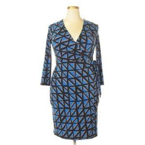 Anne Klein Sheath Faux Wrap Dress Geo Print Plus